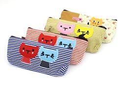 Set of 4 Large Capacity Canvas Pen Pencil Stationery Bag Pou