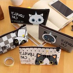Cartoon Cat Pencil Case Box Pen Storage Bag Pouch Stationary