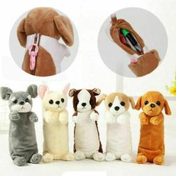 Cartoon Plush Dog Pencil Case Animal Pen Bag For Kids School