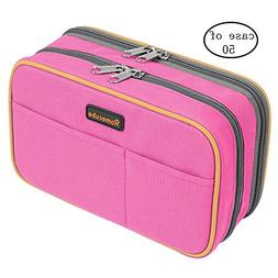 Case of 50, Homecube Pen Case Large Capacity with Double Zip