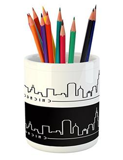 Ambesonne Chicago Skyline Pencil Pen Holder, Minimalist Styl