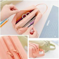 Children Kids Girls Large Capacity Handle Pencil Case School