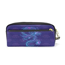 Chinese Dragon PU Leather Pencil Case Portable Pen Organizer