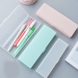 Clear Plastic Pencil Case Pen Box Kids Stationery Office Sch
