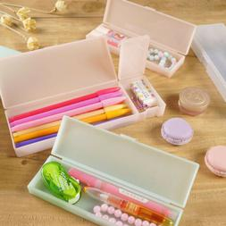 Clear Solid Color PP Plastic Pencil Case Pen Box Storage Off