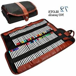 Colored Canvas Pencil Wrap Case 72 Leather Storage Drawing A