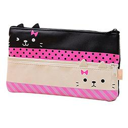 Funny live Contracted Cat Pencil Case, Pen Bag, Creative Lea