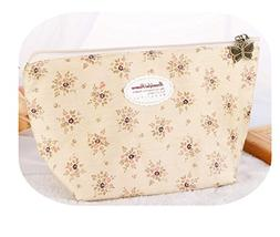Qisc Countryside Flower Floral Pencil Pen Case Cosmetic Make