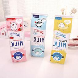 Creative  Faux Leather Milk Cartons Pencil Case Kawaii Stati