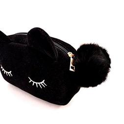 FaithYoo Cute Black Cartoon Cat Cosmetic Makeup Storage Bag