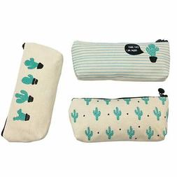 Set of 3 Cute Cactus Canvas Pen Case Pencil Bag Holder Makeu