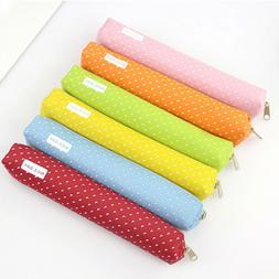 Cute Candy Color Pencil Case Kawaii Dot Canvas Pen Bag Schoo