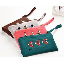 Cute Canvas Animal Pen Pencil Case Bag Coin Pouch Makeup Pur