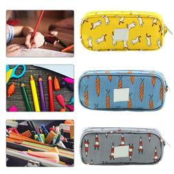 Cute Cartoon Canvas Pencil Case Pen Storage Bag Box School S