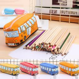 Cute Cartoon School Bus Pencil Case Large Capacity Canvas Ca