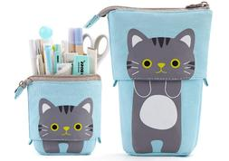 Cute Cat Pencil Pouch Case Holder Box for Student Girl Boy A