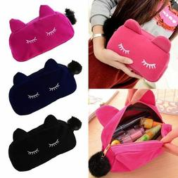 Cute Flannel Cosmetic Makeup Cartoon Cat Storage Bags Pen Pe