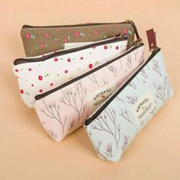 Cute Flower Floral Pencil Pen Case Cosmetic Make Up Bag Stor