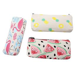 Mziart Cute Fruit and Flamingo Canvas Pencil Bag Holder Pen