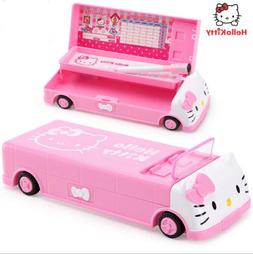 Cute Hello Kitty Pencil Case Multifunction Double-layer Bus
