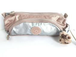 Kipling Cute Pen Pencil Case Make-up Cosmetic Bag Rose Gold