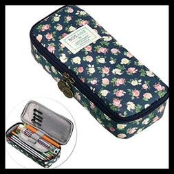 Cute Pencil Case High Capacity Floral Pouch Stationery Organ