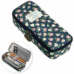 BTSKY Cute Pencil Case - High Capacity Floral Pouch Statione