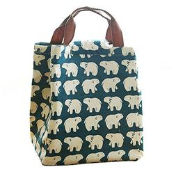 Mziart Cute Reusable Cotton Lunch Bag Insulated Tote Soft Be