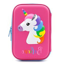 Cute Unicorn Embossed Hardtop Pencil Case - Kids Large Color