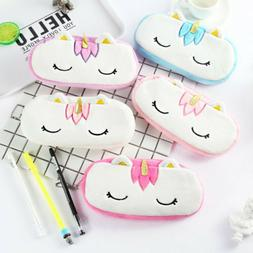 Cute Unicorn Plush Pencil Case Kids Coin Pouch Storage Zippe
