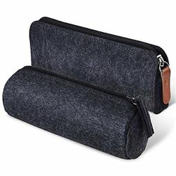 KUUQA Dark Gray Felt Pen Pencil Case Stationery Pouch Bag Co