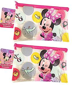 Disney Minnie Mouse Pink Bows Poly ZIP Cosmetic Pencil Pouch