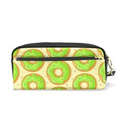 Donuts with Green Glaze Pencil Case PU Leather Large Capacit