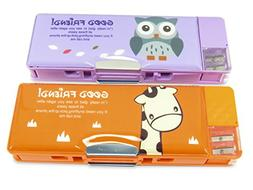 Double-Sided Soft Pen Pencil Case With Magnetic Cover Owl Gi