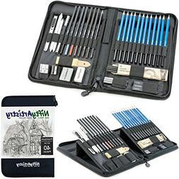 Drawing and Sketching Pencil Set in Zippered Carrying Case -