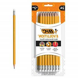 BIC Evolution Cased Pencil, #2 Lead, Yellow Barrel, 24-Count