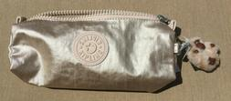 Kipling Fabian Pencil Pen Cosmetic Case Sparkly Gold Metalli