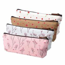Fashion Flower Floral Pencil Pen Case Cosmetic Makeup Bag Zi