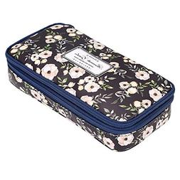 BTSKY Floral Pencil Case with Compartments -High Capacity Do
