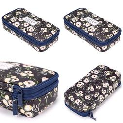 floral pencil case w compartments high capacity