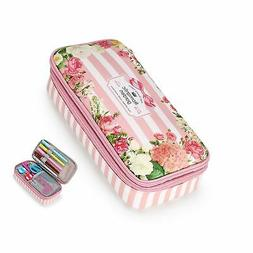 floral pencil case with compartments high capacity