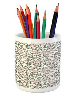 Ambesonne Flower Pencil Pen Holder, Pastel Toned Illustratio