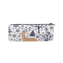 ALAZA Forest Animals Deer Owl Pencil Pen Case Pouch Bag with