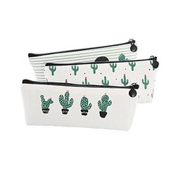 Funnylive Canvas Pencil Case Patterned with Cactus Clean Whi