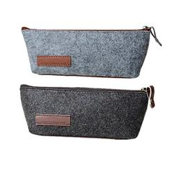 Funnylive Set of 2 ; Dark Gray and Gray Pencil Case Multi-Fu