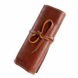 Lifewit Genuine Leather Pencil Pen Case Roll Up Pouch Brush