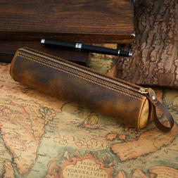 GENUINE LEATHER PENCIL PEN CASE Small Travel Toiletry Supply