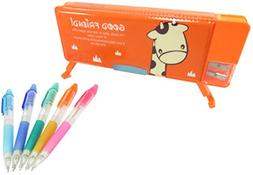 Giraffe Double-Sided Soft Pen Pencil Case With Magnetic Cove