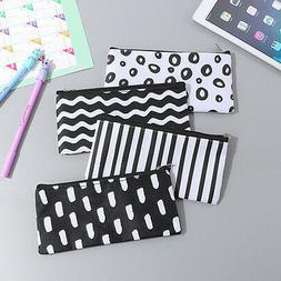 Girl Black White Pencil Pen Case Cosmetic Pouch Pocket Holde