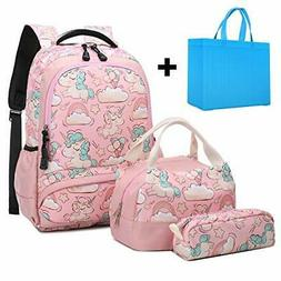 Girls School Backpacks Set Cute Unicorn Backpack with Lunch